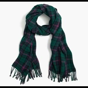 NWT J. Crew Plaid Scarf in Green & Pink